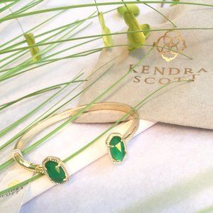 Kendra Scott Elton Emerald Gold Cuff Bracelet